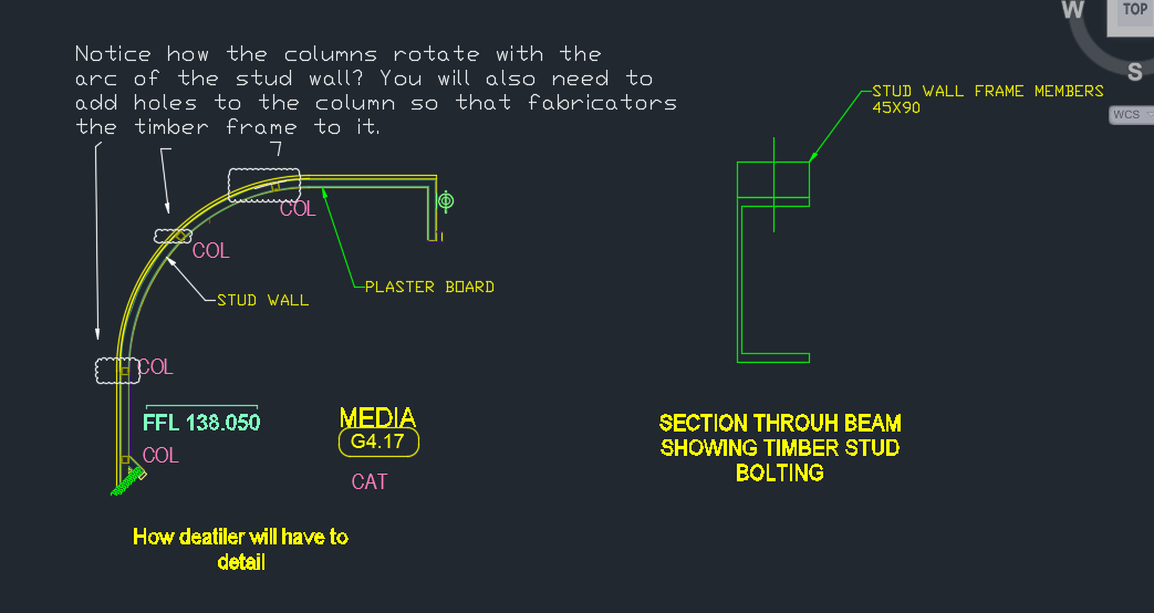 Shows how you will need to detail the design. Rotate the columns and also add bolt holes in the right places.